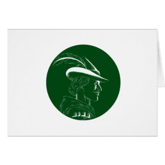 Robin Hood Side Profile Circle Woodcut Card