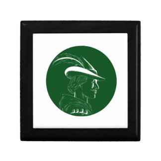 Robin Hood Side Profile Circle Woodcut Gift Box