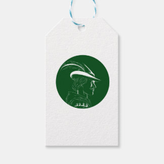 Robin Hood Side Profile Circle Woodcut Gift Tags