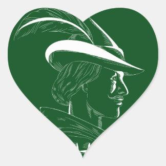Robin Hood Side Profile Circle Woodcut Heart Sticker