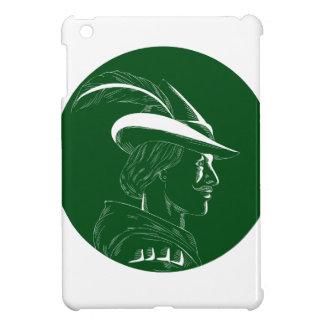 Robin Hood Side Profile Circle Woodcut iPad Mini Cover
