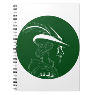 Robin Hood Side Profile Circle Woodcut Notebooks