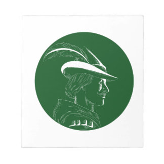 Robin Hood Side Profile Circle Woodcut Notepad