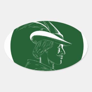 Robin Hood Side Profile Circle Woodcut Oval Sticker