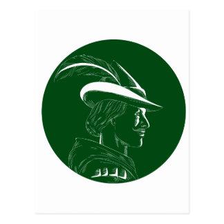 Robin Hood Side Profile Circle Woodcut Postcard