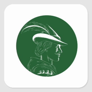 Robin Hood Side Profile Circle Woodcut Square Sticker