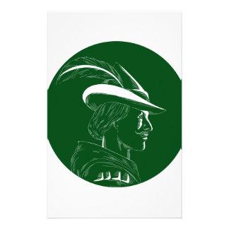 Robin Hood Side Profile Circle Woodcut Stationery Design