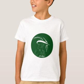 Robin Hood Side Profile Circle Woodcut T-Shirt