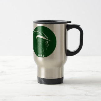 Robin Hood Side Profile Circle Woodcut Travel Mug