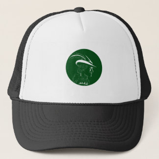 Robin Hood Side Profile Circle Woodcut Trucker Hat