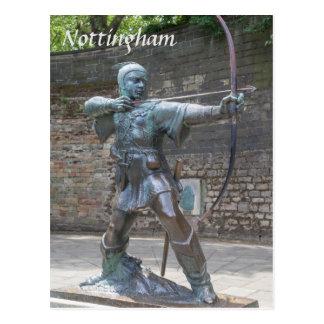 Robin Hood Statue by Nottingham Castle photo Postcard
