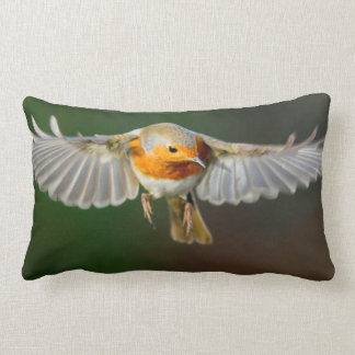 Robin hovering in flight pillow