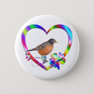 Robin in Colorful Heart 2 Inch Round Button