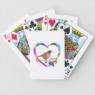 Robin in Colorful Heart Bicycle Playing Cards
