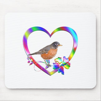 Robin in Colorful Heart Mouse Pad