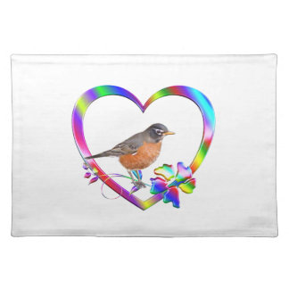 Robin in Colorful Heart Placemat