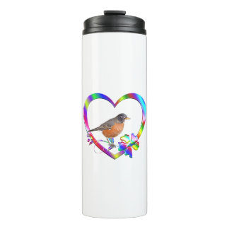 Robin in Colorful Heart Thermal Tumbler