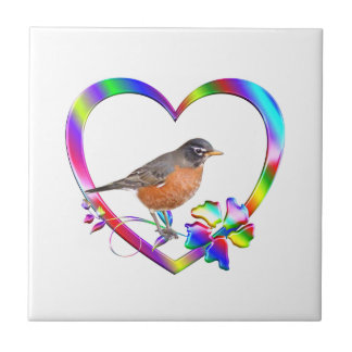 Robin in Colorful Heart Tile