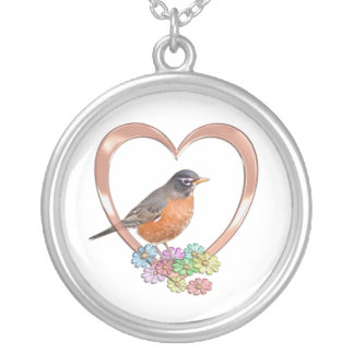 Robin in Heart Silver Plated Necklace