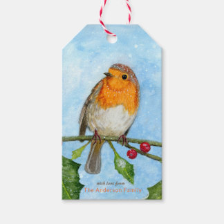 Robin in Snow Watercolour Painting Gift Tag
