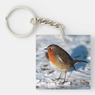 Robin In The Snow Keychain