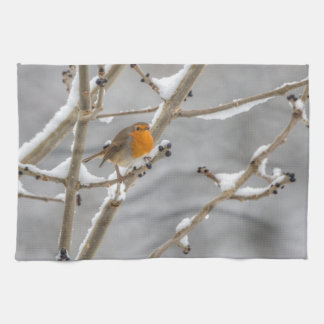 Robin in the snow kitchen towel