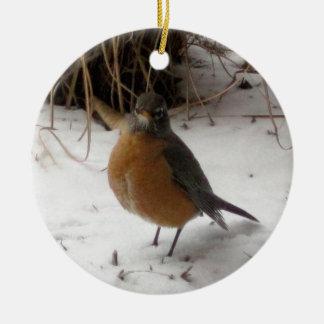 Robin in the Snow Round Ceramic Ornament