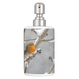 Robin in the snow soap dispenser and toothbrush holder