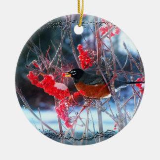 Robin in the Tree Round Ceramic Ornament