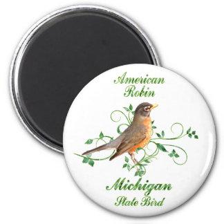 Robin Michigan State Bird 2 Inch Round Magnet