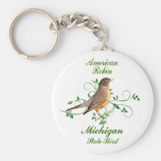 Robin Michigan State Bird Basic Round Button Keychain