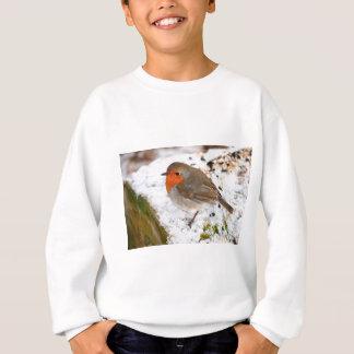 Robin on a snowy log sweatshirt