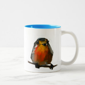 robin on branch mug with blue prattcreekart