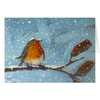 robin on branch on snowy day card