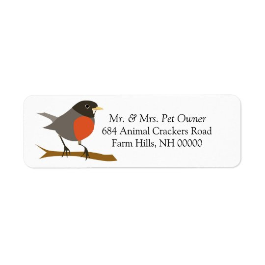 Robin On Branch Return Address Labels Stickers