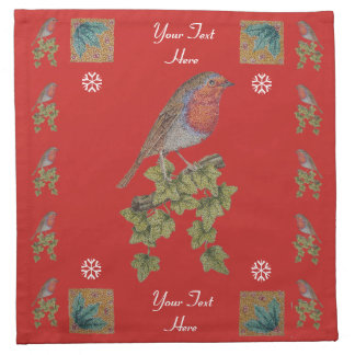 Robin on ivy leaves original seasonal art design napkin