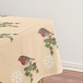 Robin on ivy leaves original seasonal art design tablecloth