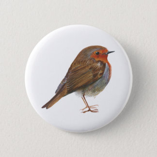 Robin Red Breast Bird Watercolor Painting Artwork 2 Inch Round Button