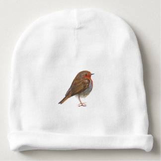 Robin Red Breast Bird Watercolor Painting Artwork Baby Beanie