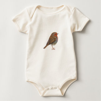 Robin Red Breast Bird Watercolor Painting Artwork Baby Bodysuit