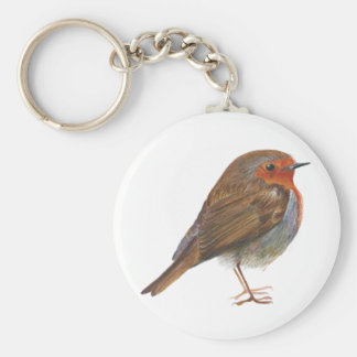 Robin Red Breast Bird Watercolor Painting Artwork Keychain