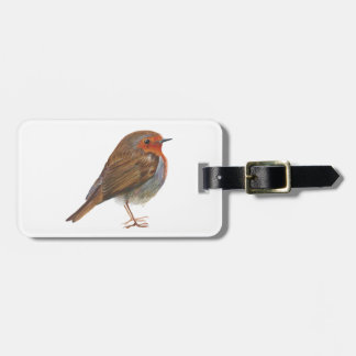 Robin Red Breast Bird Watercolor Painting Artwork Luggage Tag