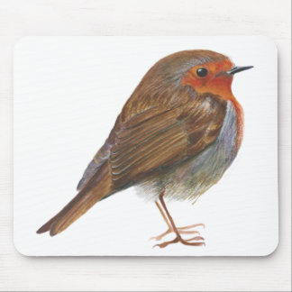 Robin Red Breast Bird Watercolor Painting Artwork Mouse Pad