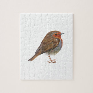 Robin Red Breast Bird Watercolor Painting Artwork Puzzle