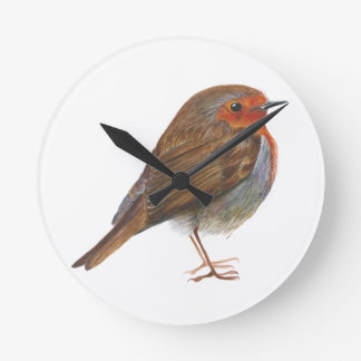 Robin Red Breast Bird Watercolor Painting Artwork Round Clock