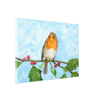 Robin Red Breast Watercolour Artwork Canvas Print