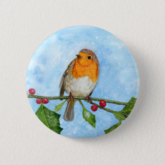 Robin Red Breast Watercolour Painting Button