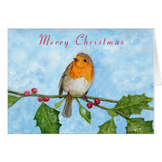 Robin Red Breast Watercolour Painting Card