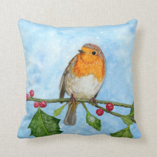 Robin Red Breast Watercolour Painting Throw Pillow