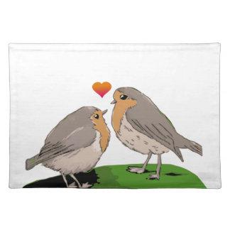 Robin redbreast bird love placemats